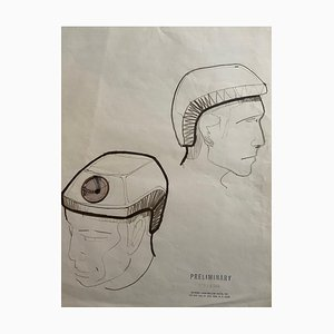 Raymond Loewy and William Snaith, Drawing Two Helmeted Men for the Nasa, 1969