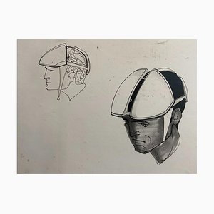 Raymond Loewy and William Snaith, Helmeted Man 2 Drawing for Nasa, 1968