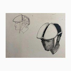 Raymond Loewy und William Snaith, Helmeted Man 2 Drawing für Nasa, 1968