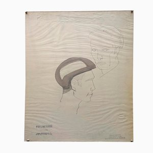 Raymond Loewy and William Snaith, Helmeted Man 4 Drawing for Nasa, 1969