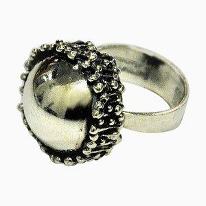 Gewölbter Silberner Vintage Ring von Erik Granit, 1971