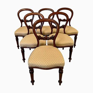 Antique Victorian Mahogany Balloon Back Dining Chairs, Set of 6