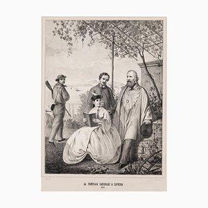 Francesco Casanova, Garibaldi und seine Familie in Caprera, Lithografie, 1864