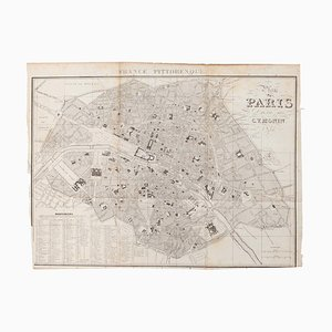 Unknown, Map of Paris, Vintage Offset Print, Early 20th Century
