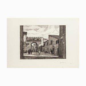 Giuseppe Malandrino, Rome, Porta Settimiana, Etching, 1970s
