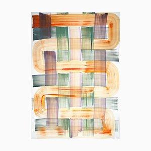 Natalia Roman, Kreuzmuster in Grün & Orange, Acryl auf Papier, 2020