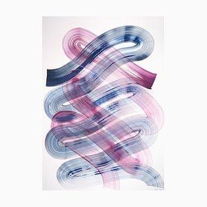 Natalia Roman, Minimalist Blue and Purple Brushstrokes, Acrylic on Paper, 2021