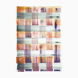 Natalia Roman, Abstract Painting of Colorful Grid Pattern In Warm Tones, 2021