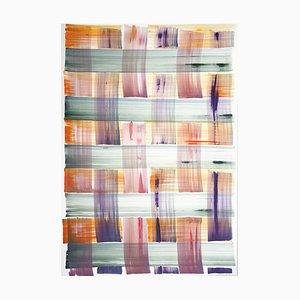 Natalia Roman, abstrakte Bemalung mit buntem Gittermuster in warmen Farbtönen, 2021