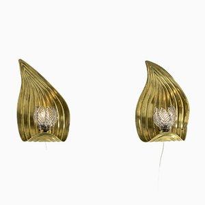 Schwedische Messing Wandlampen, 2er Set