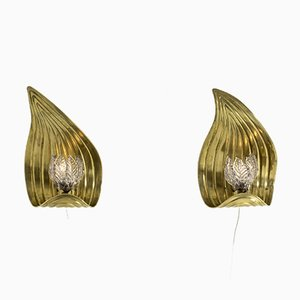 Swedish Brass Wall Lamps, Set of 2