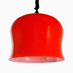 Vintage Red Glass Pendant Lamp, Italy, 1960s