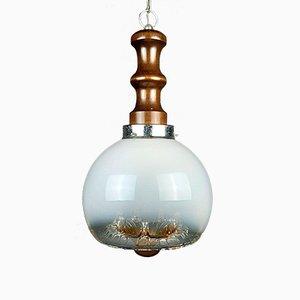 Lampada a sospensione grande vintage in vetro di Murano di Mazzega, anni '60