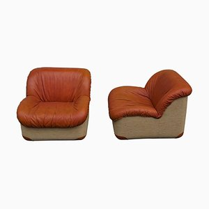 Swan Armchairs in Leather, 1970s