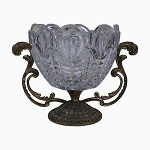 Vase en Milieu de Table en Laiton et en Cristal, 1950s