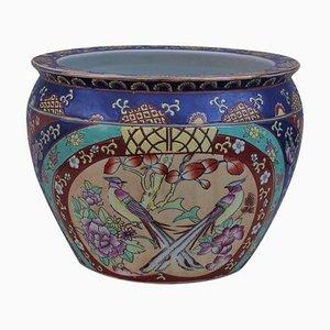 Vaso cinese dipinto a mano con decorazioni in oro, anni '50