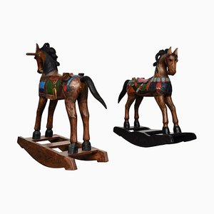 Painted Wood Rocking Horses, 1950s, Set of 2