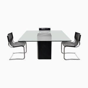 Glas Tisch und Leder Stühle, 1970er, 5er Set