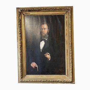 Large Antique Oil Painting Man Smoking Cigar, 1820