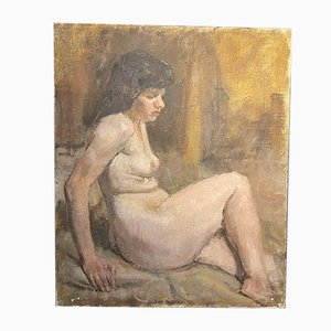 Roland Batchelor, Oil Painting of Seated Nude, 1970s