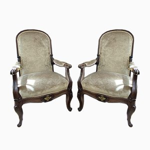 French Empire Walnut Armchairs with Gilt Ormolu Mounts, Set of 2