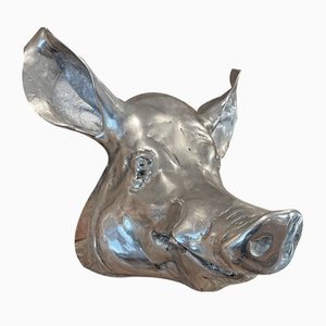 Large Vintage Metal Hanging Animal Wall Mounted Pigs Head