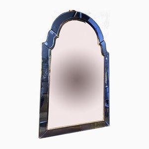 Specchio Art Deco in vetro di Murano blu cobalto