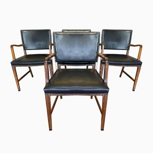 Danish Mid-Century Rosewood and Leather Chairs by Niels Moller