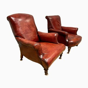 His & Hers Napoleon III Leather Library Chairs, Set of 2
