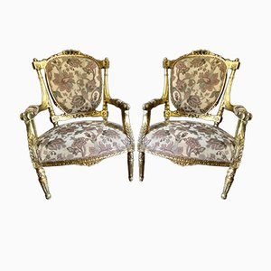 Carved Giltwood Fauteuil Chairs Attributed To Georges Jacob, 1780, Set of 2