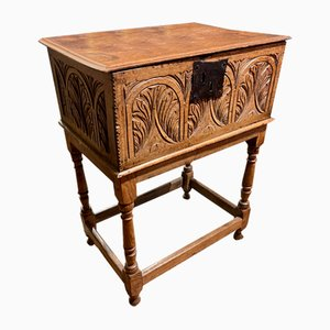 Early 17th Century Carved Oak Bible Box Chest
