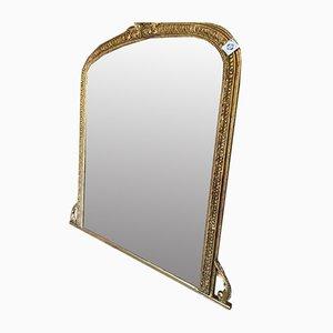 Specchio grande antico in metallo dorato e gesso