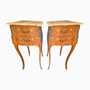 Antique French Kingwood Bedside Drawers, Set of 2