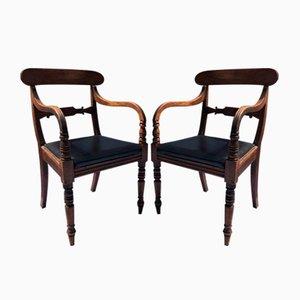 Georgian Elbow Chairs, 1820s, Set of 2