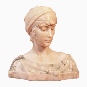 Guglielmo Pugi, Bust of Woman with Turban, 19th Century, Alabaster