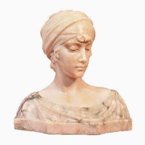 Guglielmo Pugi, Buste de Femme avec Turban, 19ème Siècle, Albâtre