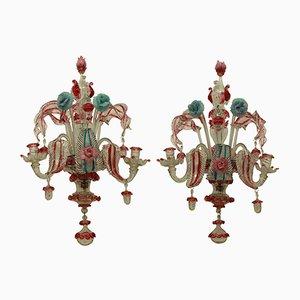 Murano Glass Sconces, 1800s, Set of 2