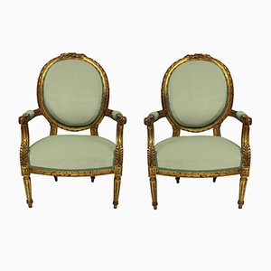 Louis XVI Style Giltwood Armchairs, Set of 2