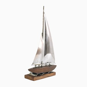 Walnut Ornament Sailboat Model, 1900s