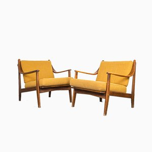 Scandinavian Wooden Lounge Chairs, 1960s, Set of 2