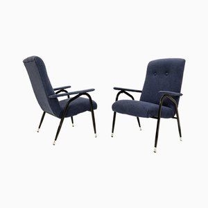 Italian Armchairs with Black Metal Structure & Blue Upholstery, 1960s, Set of 2