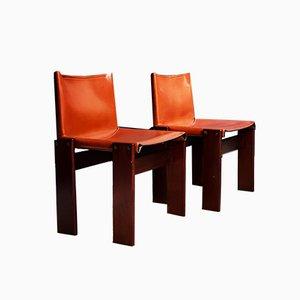 Italienische Monk Cognacfarbene Leder Esszimmerstühle von Tobia & Afra Scarpa für Molteni, 1974, 2er Set