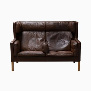 Scandinavian Brown Leather Highback 2192 Sofa by Børge Mogensen for Stolefabrik Fredericia, 1970s