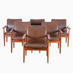 Mid-Century Scandinavian Diplomat Armchairs by Finn Juhl for Cado, Set of 6