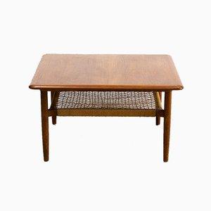Scandinavian Square Coffee Table with Magazine Shelf, 1960s