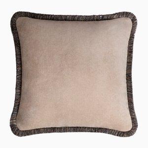 Cojín Happy Pillow de terciopelo suave con flecos cappuccino gris de Lorenza Briola