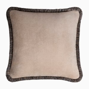 Happy Pillow Weiches Samtkissen mit Cappuccino-grauen Fransen von Lorenza Briola für Lo Decor