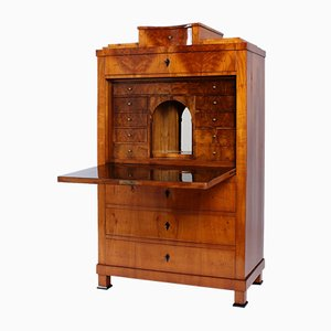 Cherry Biedermeier Secretaire with Walnut Interior, South Germany, 19th Century