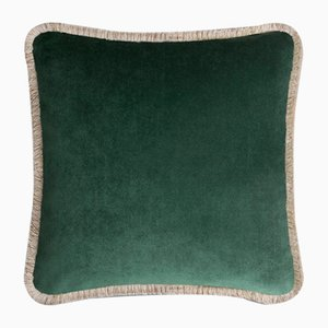 Happy Pillow Soft Velvet Cushion with Forest-Beige Fringes by Lorenza Briola