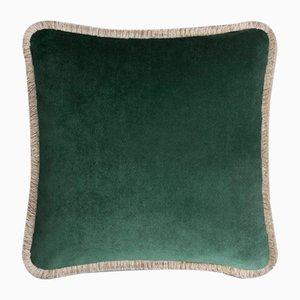 Happy Pillow Weiches Samtkissen mit waldbeigen Fransen von Lorenza Briola für Lo Decor